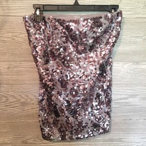 Express Sequin Strapless Top
